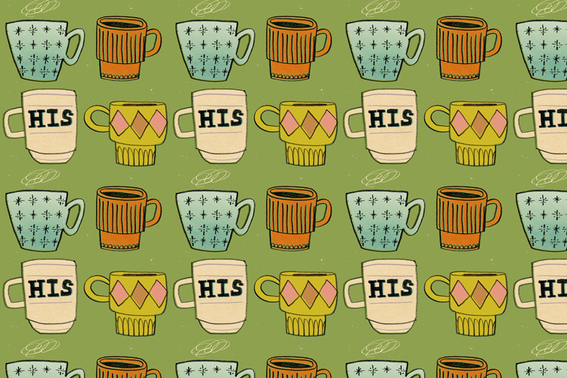Vintage Coffee Pattern Katie Turner Illustration